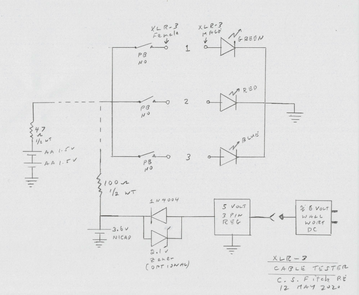 Schematic for XLR Cable Tester by Charles S. Fitch